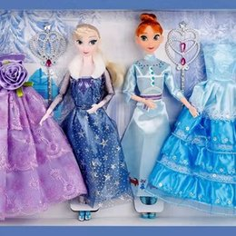 Princess dress uP shoes online shopping - Frozen Cartoon princess doll handmade dress shoes clothes crown Magic wand up Action Aisha Ana Lovely Toy Model For kid birthday gift O03