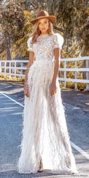 $enCountryForm.capitalKeyWord Australia - 2020 Couture Romantic Boho Bridal Short Puff Sleeves High Neckline Fully Embellished Lace Bodice A-line Wedding Dress Feather Sheer Skirt