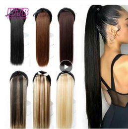 "auburn ponytail hairpiece NZ - 22"" Long Straight Ponytails for Women Heat Resistant Synthetic Hairpiece Drawstring Fake Hair Pony Tail Extensions"