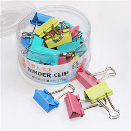 Stationery Bookmarks For Books Australia - 24 PCS colorful Large 32mm binder clips Metal paper clip for book paper stationery office school supplies High quality Clamps