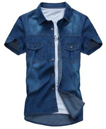 Chinese  2019 new fashion Men's Summer New Men's Short Sleeve Denim Shirt Teen Korean Slim Cotton Shirt manufacturers