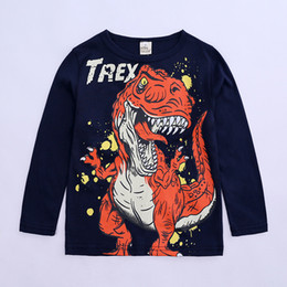 Sh Fashion UK - 2019 spring children's clothing children's t-shirt male and female round neck pullover cartoon dinosaur long-sleeved children's bottoming sh