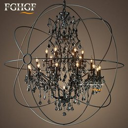 $enCountryForm.capitalKeyWord Australia - Vintage Orb Smoke Crystal Chandelier Lighting Rustic Candle Chandeliers Lamp LED Pendant Hanging Light Hotel Chandelier Light