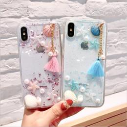 $enCountryForm.capitalKeyWord Australia - Luxury Shell Starfish Pearl Soft TPU Case For Iphone X 8 7 Plus 6 6S Plus Bling Foil Confetti Flakes Clear Fashion Phone Gel Skin Cover