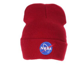 plains prints UK - Tide brand 10pcs lot Fashion NASA personality Wool Street dance knitting hat Europe and America outdoor Keep warm ski cap