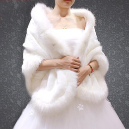 Capes for evening dresses online shopping - New White Faux Fur Bridal Wrap Shawl Coat Jackets Boleros Shrugs Regular Faux Fur Capes For Wedding Party Evening Dress