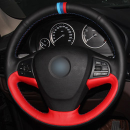 $enCountryForm.capitalKeyWord Australia - Black Red Natural Leather Light Blue Blue Red Marker Car Steering Wheel Cover for BMW F25 X3 2011-2017 F15 X5 2014