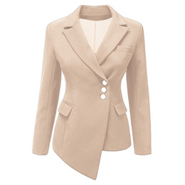 Discount ladies plus short blazers - Women Women Blazer Long Sleeve Irregular Notched Slim Short Coat Lady Business Work Suit Female Clothes Plus Size