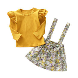girls floral shirts Australia - Kids Baby Girl Long Sleeve Cotton T-shirt Tops Floral Bow Suspender Skirt 2PCS Princess Girls Clothes Set