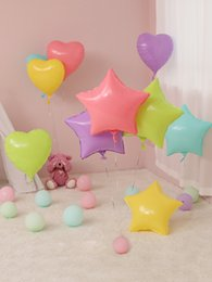 heart balloons for wholesale 2019 - New Heart Star Foil Balloon 18 Inches Ice Cream Color Candy Color Macarons For Kids Toys Ball Wedding Birthday Party Dec