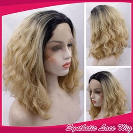 Blonde two tone wigs online shopping - Ombre Black To Blonde Two Tones Color Loose Wavy Wig Short Curly Bob Synthetic Lace Front Wigs Heat Resistant Fiber Hair B