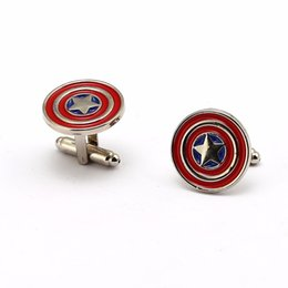 $enCountryForm.capitalKeyWord Australia - 20pairs lot Wholesale The Superhero Shield Metal Alloy Cufflinks Shirt Cuff Buttons Party Men Jewelry
