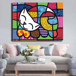 artists abstract figures NZ - Brazilian Artist Romero Cats Colorful Graffiti Poster Canvas Painting Wall Picture Poster And Print Decorative Home Decor