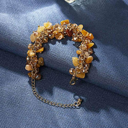 Colorful stone braCelets online shopping - 2020 Original Colorful Crystals Natural stone Women Bracelet Handmade gold color chain Bracelet bangle jewelry gifts for women