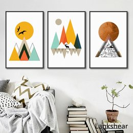 Canvas art for kids rooms online shopping - Abstract Geometric Canvas Paintings Modern Posters and Prints Nordic Wall Art Pictures for Kids Living Rooms Home Decor No Frame