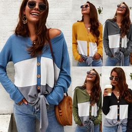 Long sLeeve t shirt wooL online shopping - V Neck Button Knit T Shirt Women Patchwork Long Sleeve Coat Knotted sweater Top Tie Knot Cardigan Casual Outwear Shirt LJJA2864
