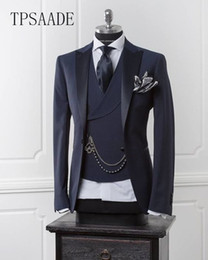 Wholesale slim fit modern men suit resale online - Navy Blue Men Blazer Business Modern Men Suit With Pants Slim Fit Wedding Suits For Prom Formal Jacket Tuxedo Costume Homme