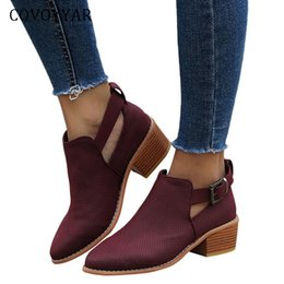 $enCountryForm.capitalKeyWord Canada - Covoyyar 2019 Perforated Winter Women Boots Pointed Toe Ankle Booties Block Heel Buckle Strap Autumn Shoes Woman Wbs485 MX190801