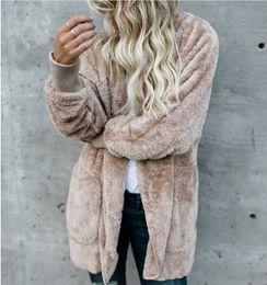 $enCountryForm.capitalKeyWord Australia - Womens Faux Fur Jackets Outerwear Winter Hooded Velvet Coats Pocket Design Loose Coats Women Clothing Warm Soft Outerwear Tops