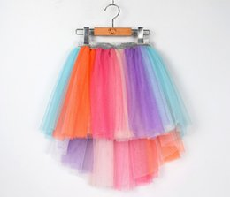 wholesale tutus Australia - Girls Princess Trumpet Mermaid Tutu Skirt Baby kids Asymmetrical Lace Tulle Skirts Ruffles Rainbow Unicorn Holiday Party Clothing A01541