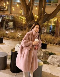 Wholesale long fur pink womens coat resale online - Casual Luxury Long Coats Winter Faux Fur Womens Coats Designer Solid Pink Color Fashion Warm Clothes