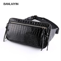 men leather waist hip bag UK - Nice New Men PU Leather Crocodile Grain Hip Belt Fanny Pack Bag Waist Purse Chest Pack