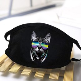 tokyo ghoul masks UK - Kawaii Cat Print Mask Cartoon Black Tokyo Ghoul Cosplay Anime Masks Mouth Muffle Respirator Dust Face Washable Mouth Masks jeDBG