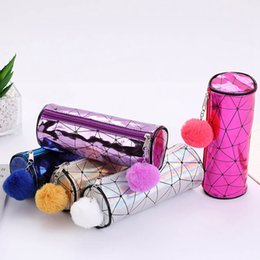 $enCountryForm.capitalKeyWord Australia - Rhombus Fashion Hair Ball Cylindrical Laser Pencils Bags Durable Large Capacity School Supplies Stationery Cosmetic Bag