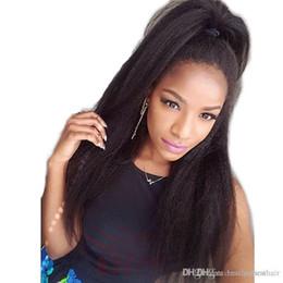 $enCountryForm.capitalKeyWord NZ - Afro Kinky Straight Full Lace Wig For Black Women Pre Plucked Brazilian Virgin Glueless Italian Yaki Straight Lace Front Human Hair Wigs