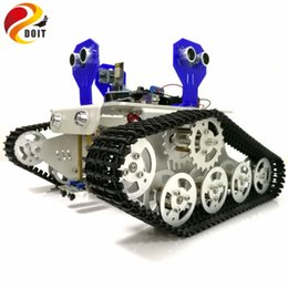 track motorcycles NZ - WiFi Control 2-way Tracking 3-way Ultrasonic Obstacle Avoidance Cralwer Robot Tank Car Chassis kit for Arduino kit