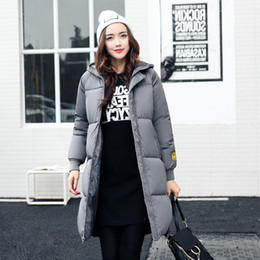 evening dress codes NZ - 2018 Winter New Pattern Cotton Suit-dress Korean Even Hat Smiling Face Long Fund Enlarge Code Fashion Keep Warm Loose Coat