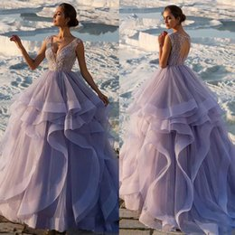 Sexy Open Ball Image Australia - Lavender Ball Gown Crystal Prom Dresses Sexy V Neck Lace Appliqued Tiered Skirts Party Evening Gowns Open Back Special Occasion Formal Dress