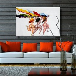 $enCountryForm.capitalKeyWord Australia - hot selling High Quality Handpainted & HD Print Abstract African woman running Art Oil Painting On Canvas Wall Art Home Deco p152