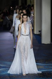 Zuhair Murad Lace Dress White Australia - Zuhair Murad White Prom Dresses Women Jumpsuit With Long Train Deep V Neck Lace Appliqued Evening Gowns Custom Made Formal Party Dress
