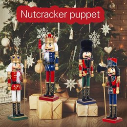 army pink green uniform NZ - New Year Xmas 2020 Christmas Home Decor Toys Innovation Wooden Nutcracker Wearing Red Black Uniform Festive Christmas Gift