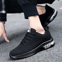man baskets NZ - Men Sport Shoes Outdoor Mesh Sneakers Air Cushion Black Athletic Running Shoes Men Soft Youth Basket Shoes