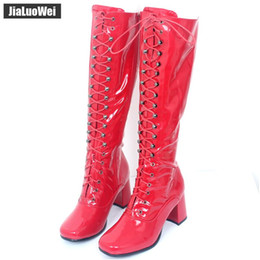 Purple Martin Boots Australia - Hot sale women fashion Zip boot Knee-High boots Square Toe thick heel PU Leather GO-GO faves Man dancing shoes for unisex
