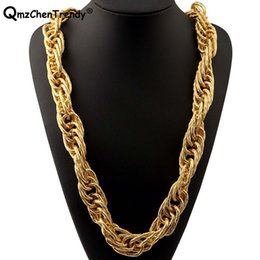 $enCountryForm.capitalKeyWord Australia - T Show Stage 22mm Width 243g Super Heavy Women Mens Twist Rope Chain Necklaces Golden Silver Bling Hip Hop Exaggerated Jewelry