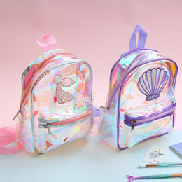 EmbroidEry lady bags online shopping - Laser Transparent Mermaid Backpack Girls Fashion Embroidery Shell Schoolbag outdoor travel Backpack Student Waterproof School bag FFA2184