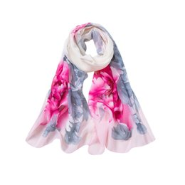 Wholesale lady peony online – 2019 Scarf female spring and summer Fashion Women Peony Printing Long Soft Wrap Scarf Ladies Shawl Scarves L308