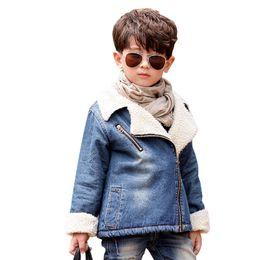 Parkas For Winter Australia - Winter Jacket For Boys Thick Cashmere Children Denim Jacket Coat 2-6 Years Kids Outerwear & Coats Baby Boys Parka Infant Clothes