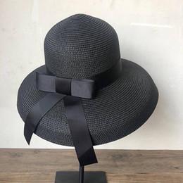 $enCountryForm.capitalKeyWord Australia - New Product Fashion Sun Hat Women's Summer Bow Straw Hats for Women Beach Headwear Chapeau Femme Hepburn Hats Black