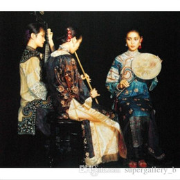 $enCountryForm.capitalKeyWord UK - Chinese ancient young girls Trio Pipa and flute players High Quality Handcrafts  HD Print portrait Oil painting canvas Multi sizes p159