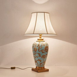 hotel chinese painting NZ - China Ceramic Table Lamp Hand-Painted Golden Pattern E27 Desk Light Hotel Light G578
