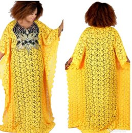 Wholesale new fashion african lace dresses for sale - Group buy Super size bust cm New African women s Dashiki fashion Water soluble lace loose skirt with beaded embroidery long dress