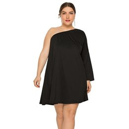 Black Sexy Ladies Clothes UK - 2019 Enlarge Code Sexy Women's Clothes Oblique Shoulder Easy Dress Lady skirt