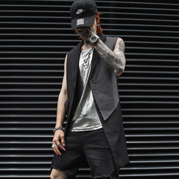 Wholesale punk trench coats for sale - Group buy Summer Spring Punk rock Sleeveless trench coat men Extra long Black Slim fit Patchwork DJ Stage clothing