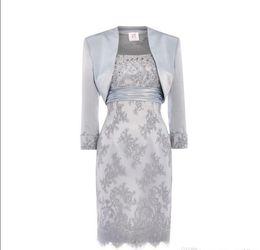 Brides Mothers Dresses Jackets UK - Silver Lace Mother Of The Bride Dresses Scoop Sequins Beaded Satin Knee Length Mother Bride Dresses With Jacket Short Dresses
