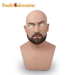 Fetish cosplay online shopping - male latex realistic adult silicone full face mask for man cosplay party mask fetish real skin