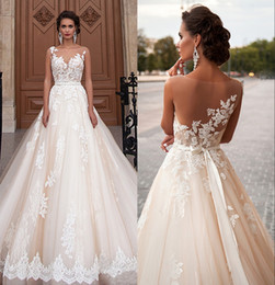 $enCountryForm.capitalKeyWord NZ - New Arrival Sexy A-Line Lace Wedding Dresses 2019 Romantic Robe De Mariage Vestido De Noiva Sheer Backless Bride Dresses DH350
